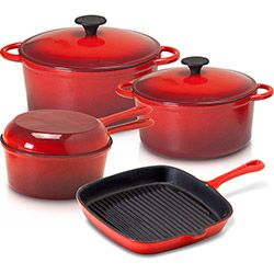 Conjunto de Panelas de Ferro 4 Peças Vermelha - La Cuisine
