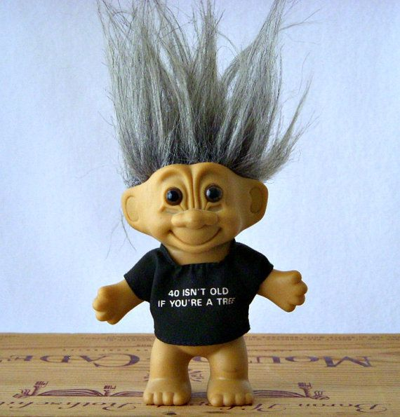 Vintage Russ Gray Hair 4 Inch Troll, 40 Isn't Old If You