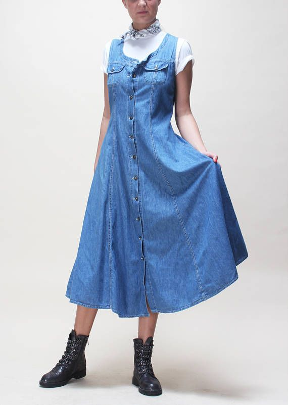 7391f50e COUNTRY DRESS midi // sleeveless // denim light blue wash ...