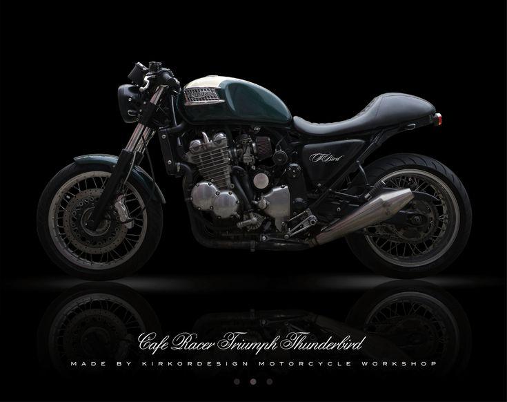 "La Triumph Thunderbird de Jean-Philippe, un bien beau racer ""British""… | Un pneu dans la tombe"
