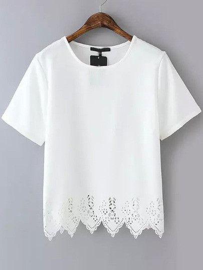Season :Summer Pattern Type :Plain Sleeve Length :Short Sleeve Color :White Material :Chiffon Neckline :Round Neck Style :Casual Decoration :Lace Size Available :S,M,L Length(cm) :S:57cm, M:59cm, L:61