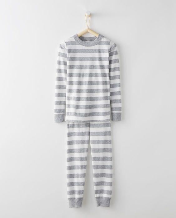 Long John Pajamas In Organic Cotton in Heather Grey/Hanna White