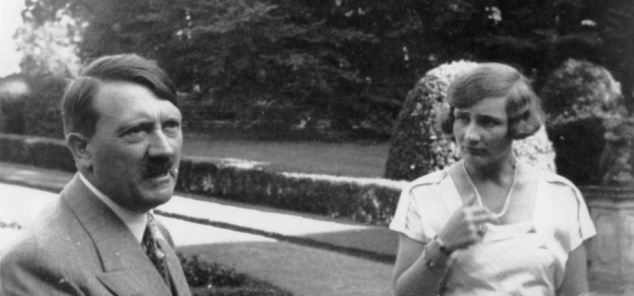 Unity Mitford at the 1938 Nuremberg Nazi celebration with Julius Streicher (left). The picture was taken by Hitler's personal photographer. ...