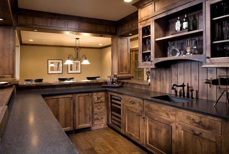 knotty alder dark stain home bar craftsman with shaker style traditional kitchen faucets