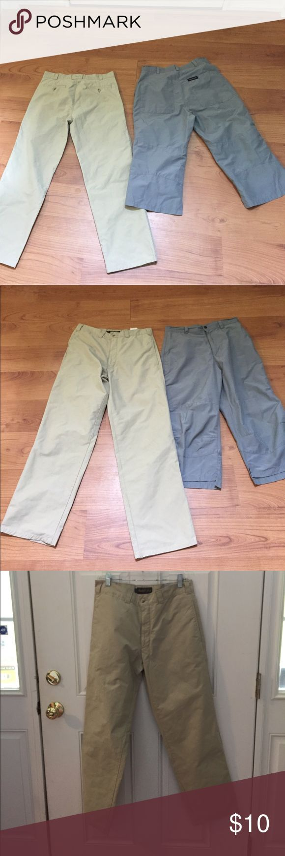 "Timberlands bundle of 2 men's pants 31"" khaki gray Bundle of two pairs of men's pants both by timberland both 31"" waist one is khaki and in good condition one is gray and long shorts - no flaws on beige a small mark  on leg on the gray ones sold as a set selling cheap! Timberland Pants Chinos & Khakis"