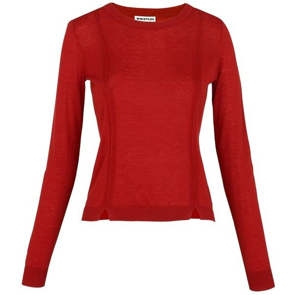 Whistles Charo Split Hem Jumper, Red (£75) ❤ liked on Polyvore featuring tops, sweaters, red sweater, long sleeve jumper, long sleeve sweater, jumper top and whistles tops