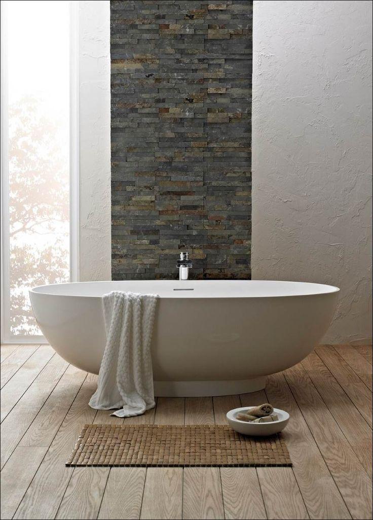 #modern #minimalist #bathtub #greybrick