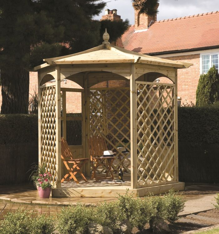 Budleigh Trellis Gazebo Is Hexagonal In Shape With Two Half Paneled And 3 Trellised Sides