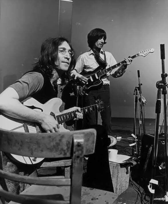 Beatles She Came In Through The Bathroom Window Lyrics: George Harrison Plays A Fender Bass VI Bass Guitar During