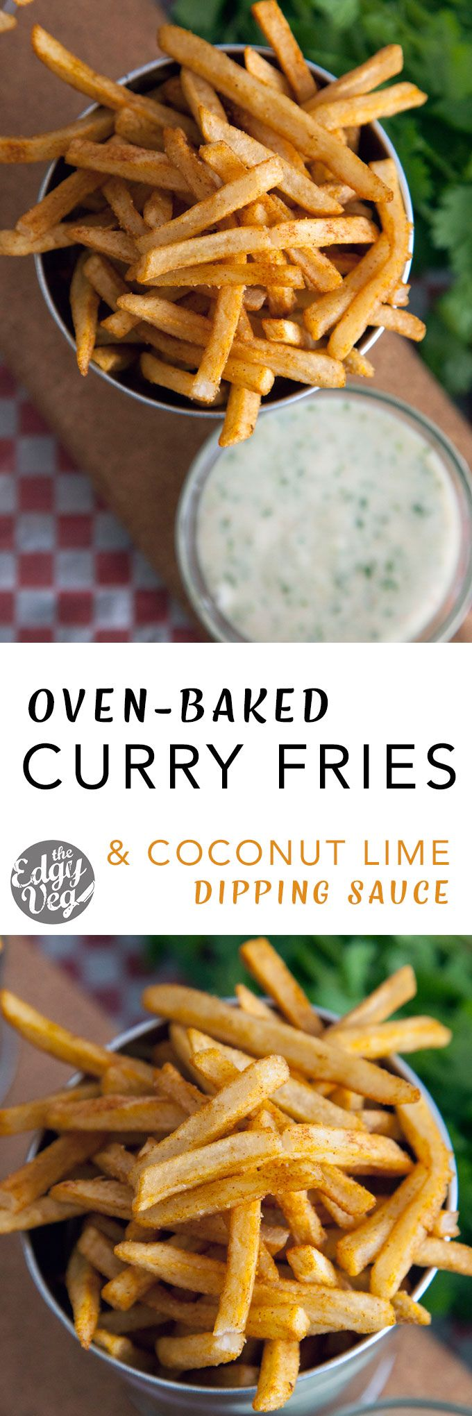curry fries with coconut lime dip: These curry fries are deliciously crispy and oven baked, so you can eat them to your heart's desire. The mix of aromatic spices give this dish a haute-cuisine feel and taste without too much effort. perfect for Game Night, a lazy night of Netflix and Chill or a quick appetizer with friends.