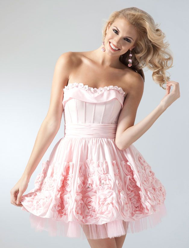 Cute Light Pink Strapless Short Prom Dresses