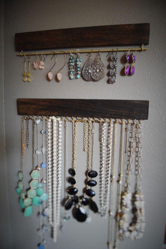 Organizador de joyería colgante madera decoración para el