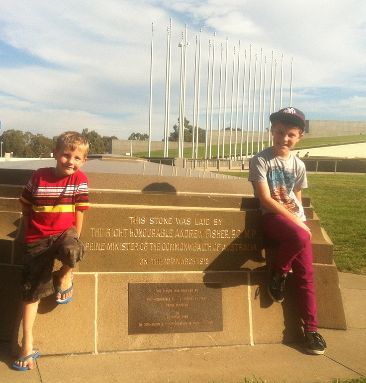 Brayden & Tyler outside the front of Parliament House!