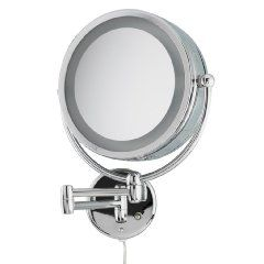 """This is one of the Top-Rated Makeup Vanity Mirrors by Professional Makeup Artists because of the infinite adjustability, reflective clarity, softness of light.  It features wall mounting with 8"""" dia. mirror w/ 10X magnification and Incandescent lighting w/ dual settings to simulate evening and daytime.  This is a very nice Makeup Mirror!"""