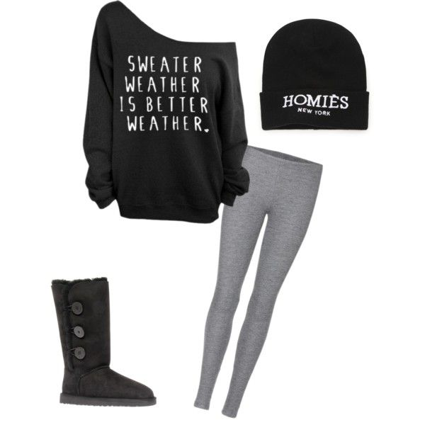 Teen fashion cute outfit style clothing sweater leggings grey black ugh boots hat homies new ...
