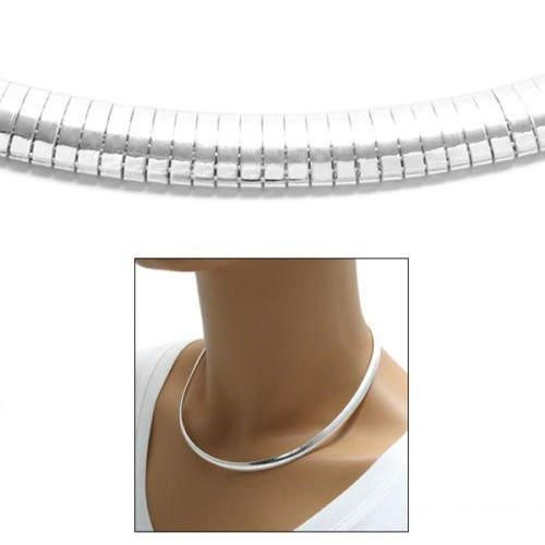 Sterling Silver Domed Omega Chain Necklace 6mm. Available in 3 Lengths.
