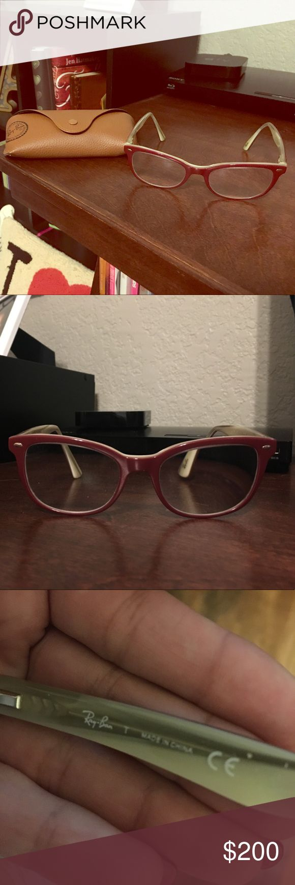 Red Ray-Ban Eyeglasses Super cute, rare red framed Ray-Ban Eyeglasses. They do have prescription lenses in them so they would need to be changed, but other than that they are in perfect condition! Ray-Ban Accessories Glasses