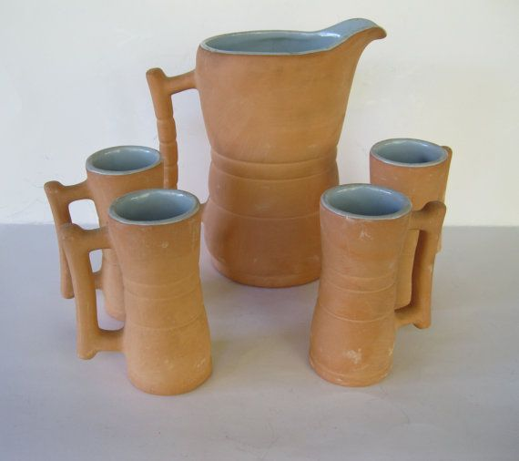 Frankoma Rustic Pitcher and Tall Handled Mugs by TheSnapDragonsLair