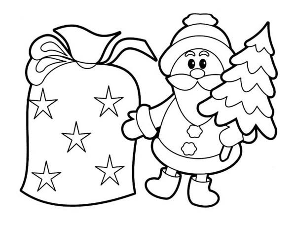 Christmas Tiny Santa Decoration For Christmas Coloring Page