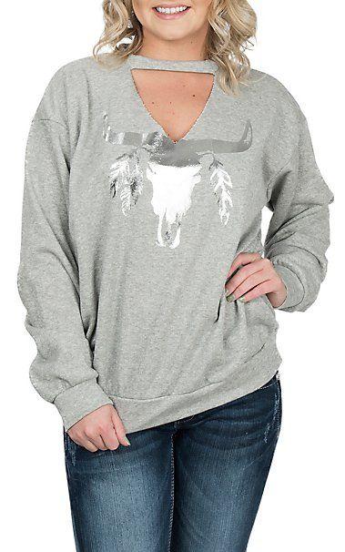 Peach Love Women's Grey Skull Casual Knit Sweatshirt | Cavender's