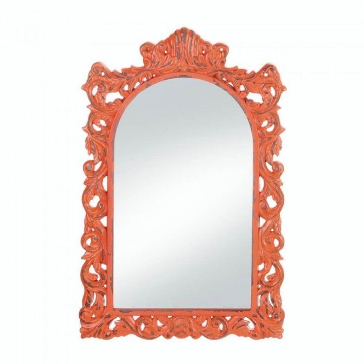 Orange Wall Mirror Framed Decorative Arched Wood Bright Color Accent Art #AccentPlus