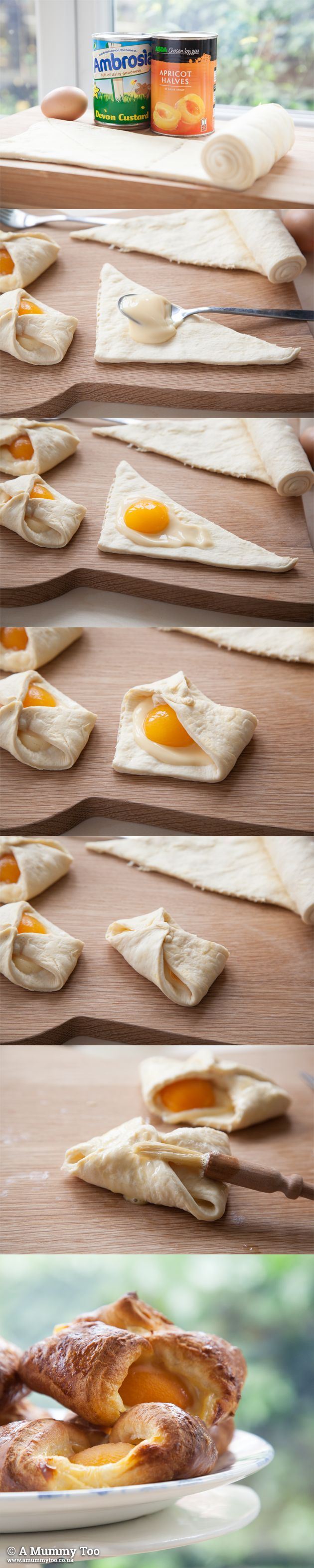 I used to live on these when I was in Luxembourg (which explains all the extra LBs I picked up.) Must make. NOW! Super fast apricot custard Danish recipe