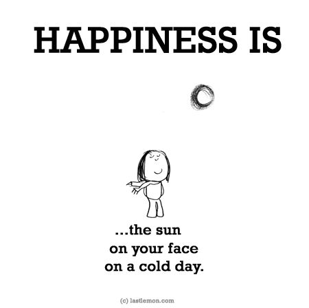 http://lastlemon.com/happiness/ha0107/ HAPPINESS IS...the sun on your face on a cold day.
