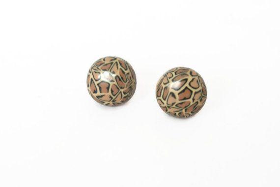 Leopard Print Stud Earrings  Polymer Clay by Lottieoflondon, £5.00