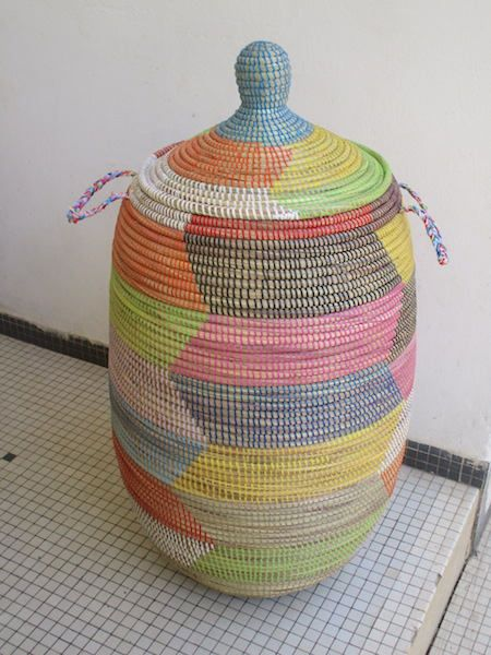 Happy Laundry Basket, Colour for your Room, Multicoloured Hamper,Senegalese basket by africanbaskets on Etsy