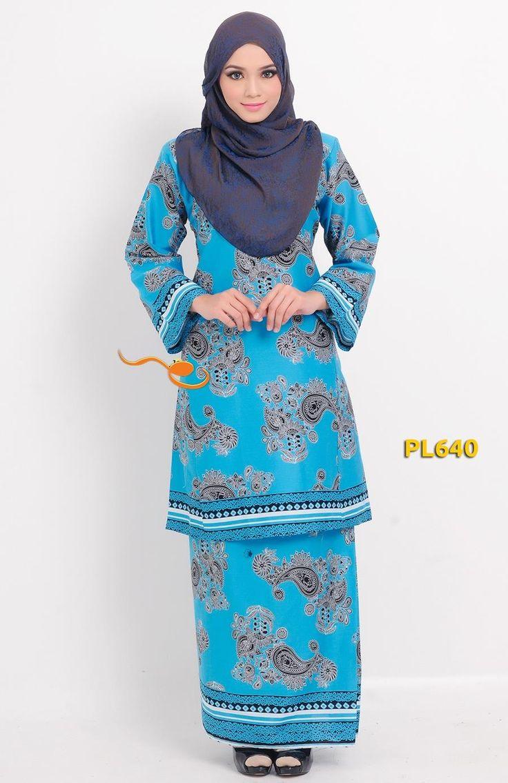 Baju Kurung Pahang Moden Pesak Gantung Blue Baju