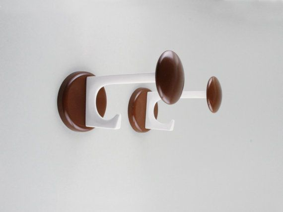 Vintage German coat hooks midcentury modern hook Schönbuch brown white 70s coat hooks German modern by LeKosmosBerlin