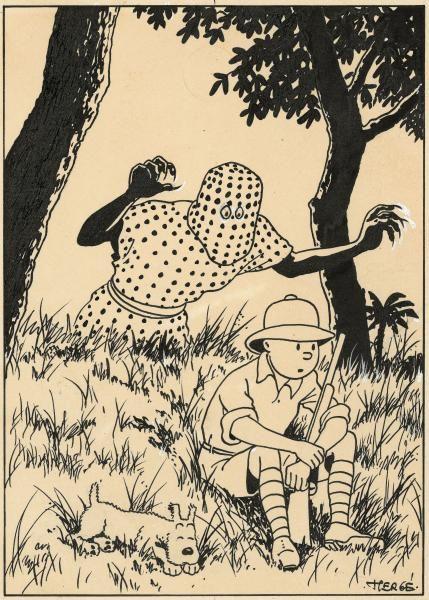 """HERGÉ (Georges Remi dit) 1907-1983 - TINTIN AU CONGO - Encre de Chine, crayon et[...], mis en vente lors de la vente """"L'Univers du Créateur de Tintin """" à Artcurial   Auction.fr"""