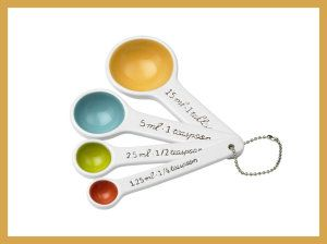 SugarBooger Living Goods Ceramic Measuring Spoon Set, Emma If you have the measuring cups here are the matching spoons. The colors match with the measuring cups. Dishwasher friendly. http://theceramicchefknives.com/ceramic-measuring-spoons/ SugarBooger Living Goods Ceramic Measuring Spoon Set, Emma