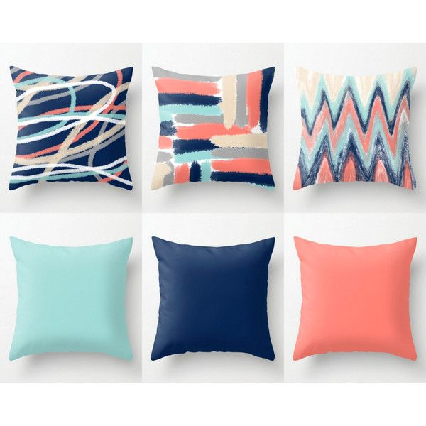 Throw Pillow Covers Coral Navy Aqua Beige Grey Mix and Match Abstract... ($34) ❤ liked on Polyvore featuring home, home decor, throw pillows, decorative pillows, grey, home & living, home décor, grey throw pillows, gray accent pillows and navy throw pillows