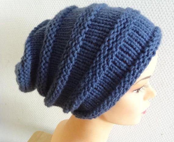 knit hat slouchy women  men jeans BLUE  Winter Hat  fall by Ifonka