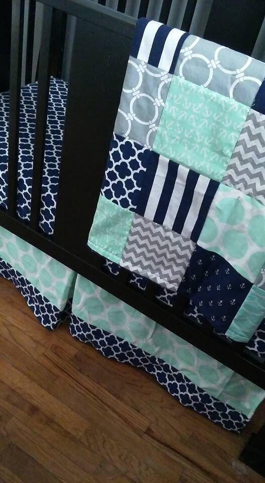 Custom Crib Bedding Set, Made to Order, Mint, gray, navy, nautical, crib skirt, sheet, baby blanket by PishPoshPolkaDot on Etsy https://www.etsy.com/listing/268833990/custom-crib-bedding-set-made-to-order