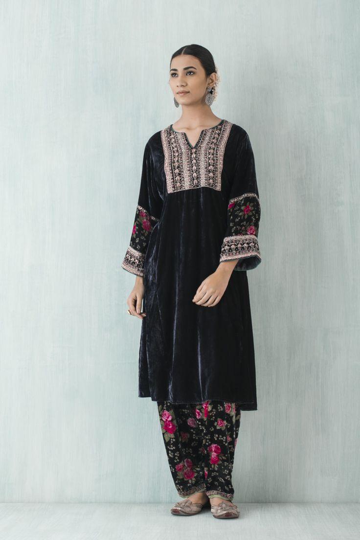 casual phiran kurta in velvet with zardosi embroidery and printed sleeves. velvet salwar.