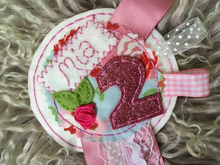 Handstitched birthday rosette, birthday, gift, personalised, badge, rosette, keepsake by SweetlittleThings96 on Etsy