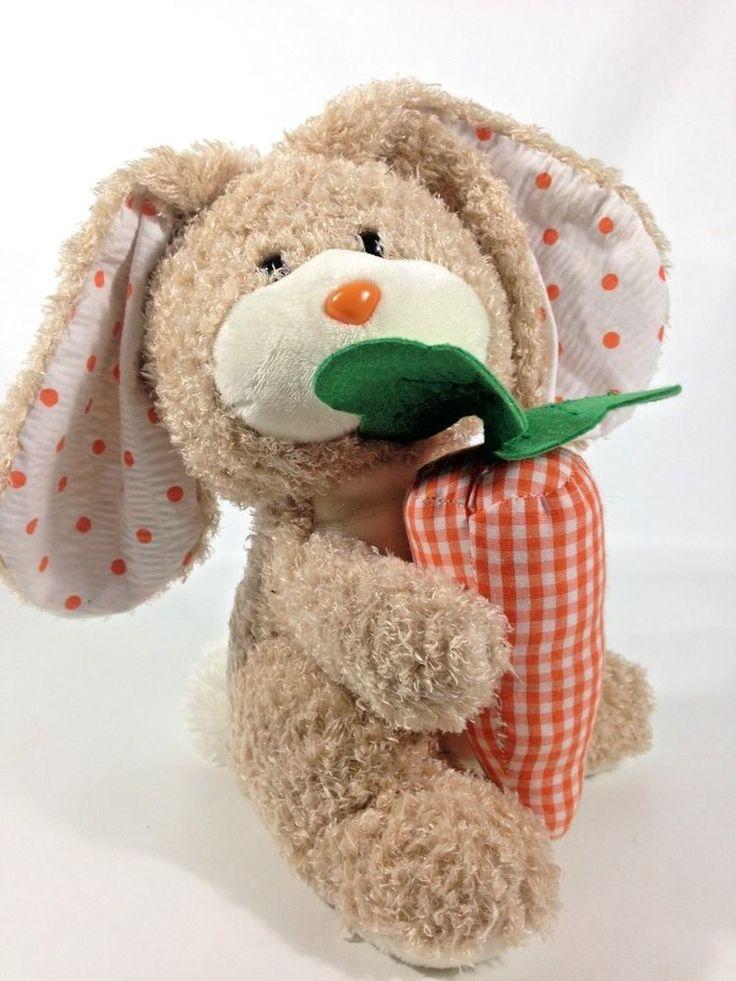 Ty Beanie Buddy VEGGIES RABBIT Plush Bunny Beige Orange Carrot Stuffed Baby 2005 #Ty