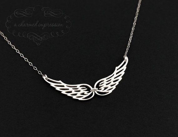 Angel Wing Necklace, Silver Wings Charm, Remembrance Jewelry, Christian Jewelry, Unique Memorial Pendant, In Memory, Gift of Love, Faith