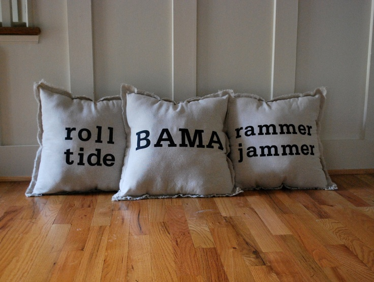 Natural Linen Alabama Themed Throw Pillow Pack of 3. $65.00, via Etsy.