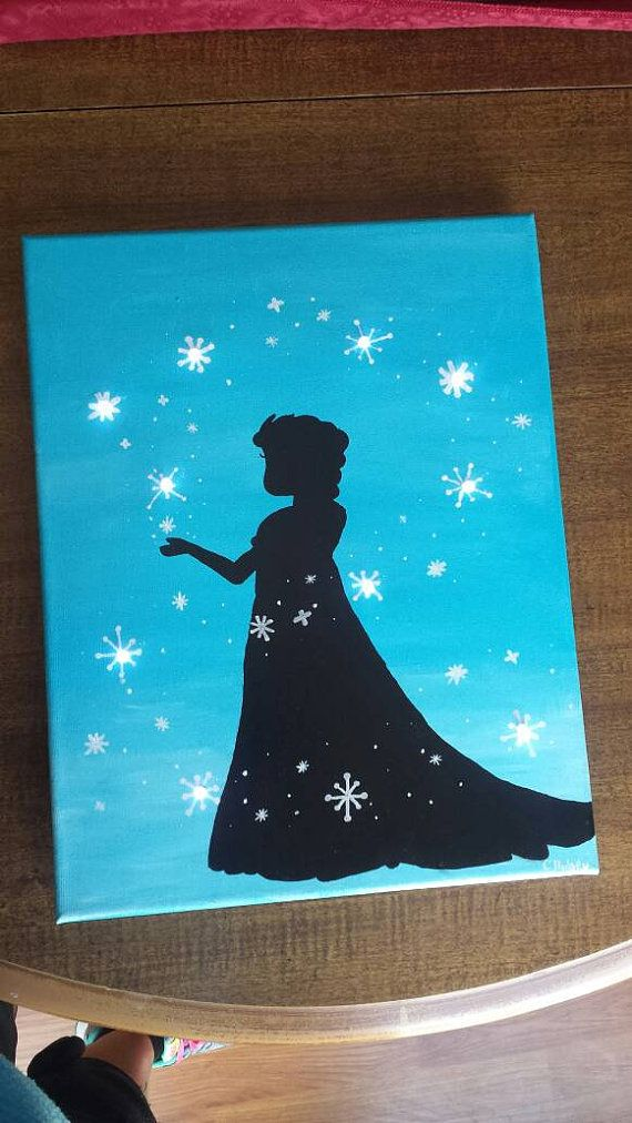 Ice Princess lighted canvas. This is an 11x14. Battery operated LED lights. Open back for easy access. Artists signature.