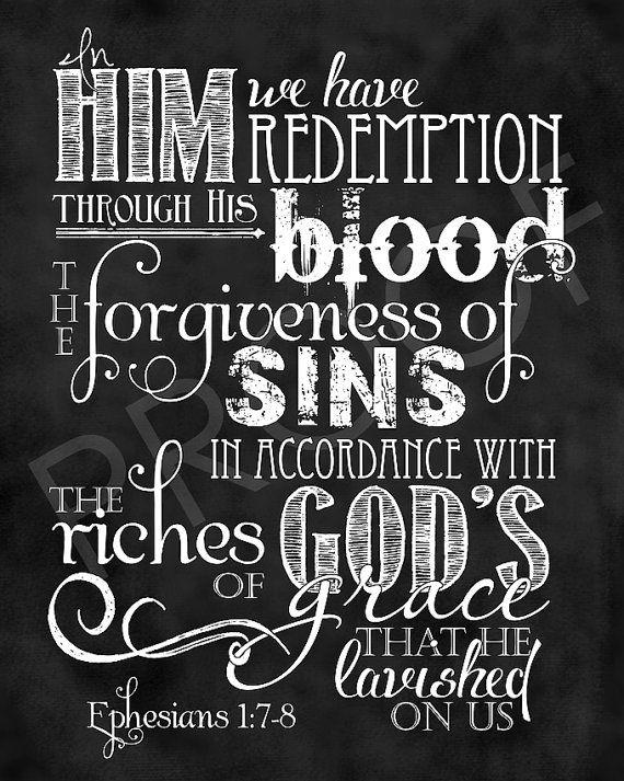 Scripture Art  Ephesians 1:7-8 Chalkboard by ToSuchAsTheseDesigns