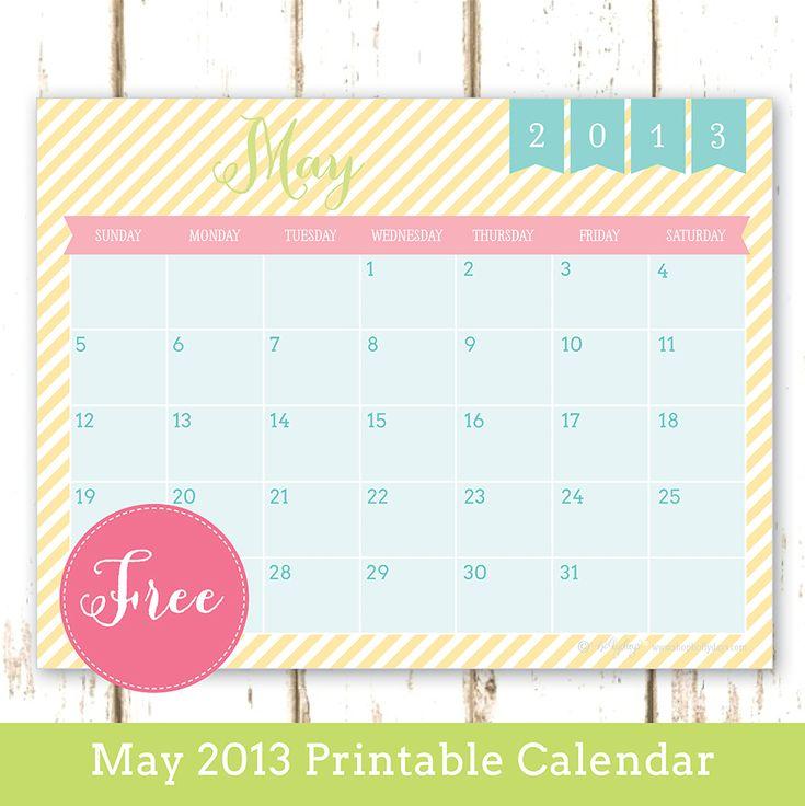 Free Printable May 2013 Calendar