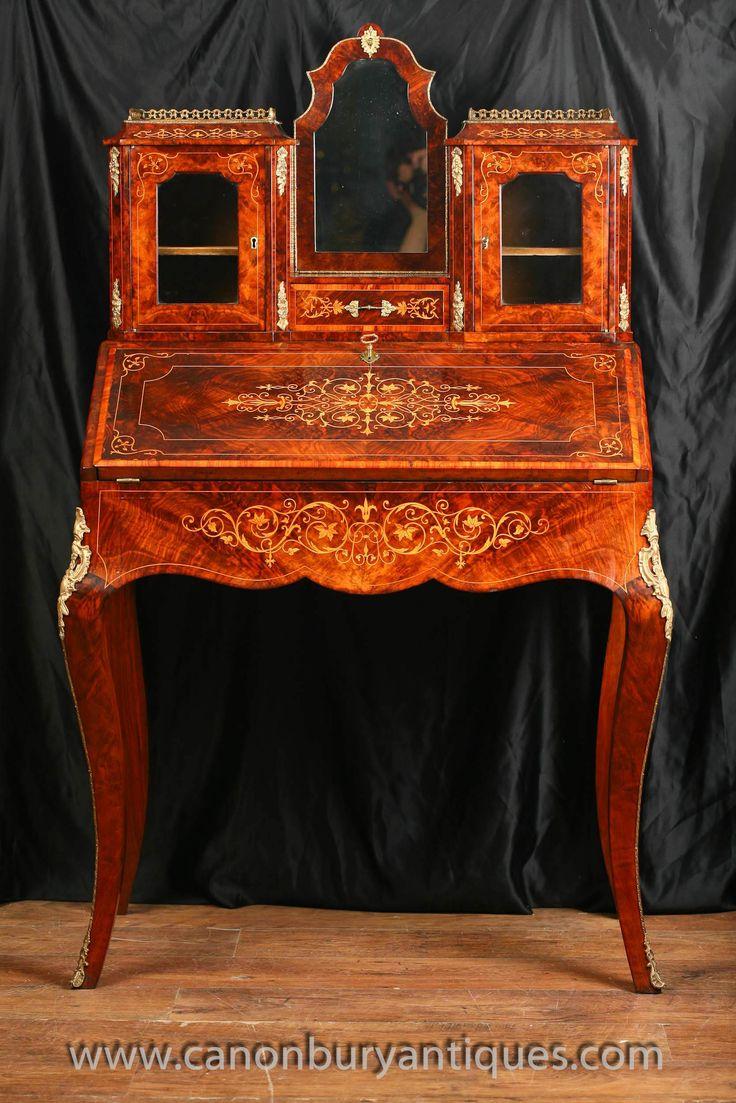 http://canonburyantiques.com/s/desks/victorian-desks/1/  Antique Victorian bureau du dame. Such a stylish desk, look at the intricate inlay work. Large range of other Victorian desks available