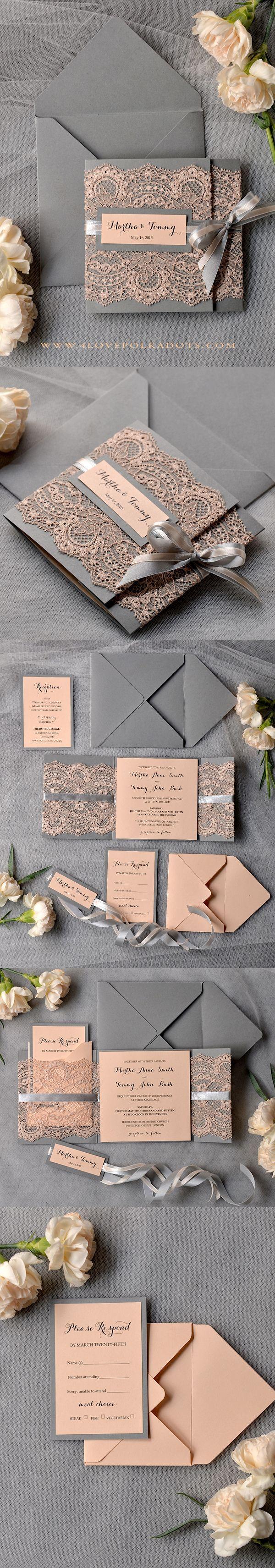 Vintage graue Hochzeits-Einladungen Pfirsich-Spitze Presonalized Briefpapier grau und erröten Rosa 26 / laceWw / z – Einladung Geburtstag