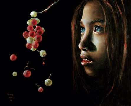 Forbidden Fruit by Akiane Kramarik In her praying she was told to depict Eve as to have all the races because she is the mother to all! The red represents the bad and the green represents the good...