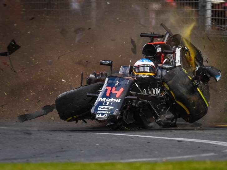 Alonso crashes in melbourne 2016 notice how all of the