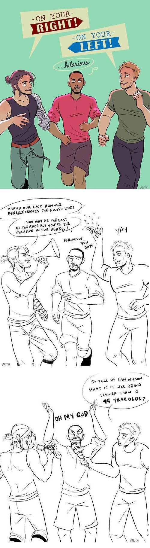 So funny!! # Captain America! # Bucky #Falcon