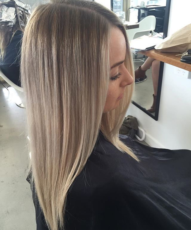 Seamless Balayage We Balayage foiled the whole head and placed babylights around the face to frame We then toned creating a slight root shadow leaving out the hairline to created a pop of colour #Balayage #foil #combo #colourist #redken #flashlift #shadeseqgloss #creamyblonde #seamless #colour #salon #thesocietyforhair #terrigal